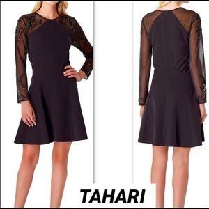 TAHARI Sheer Embroidered Beaded Sleeves Dress, SZ6